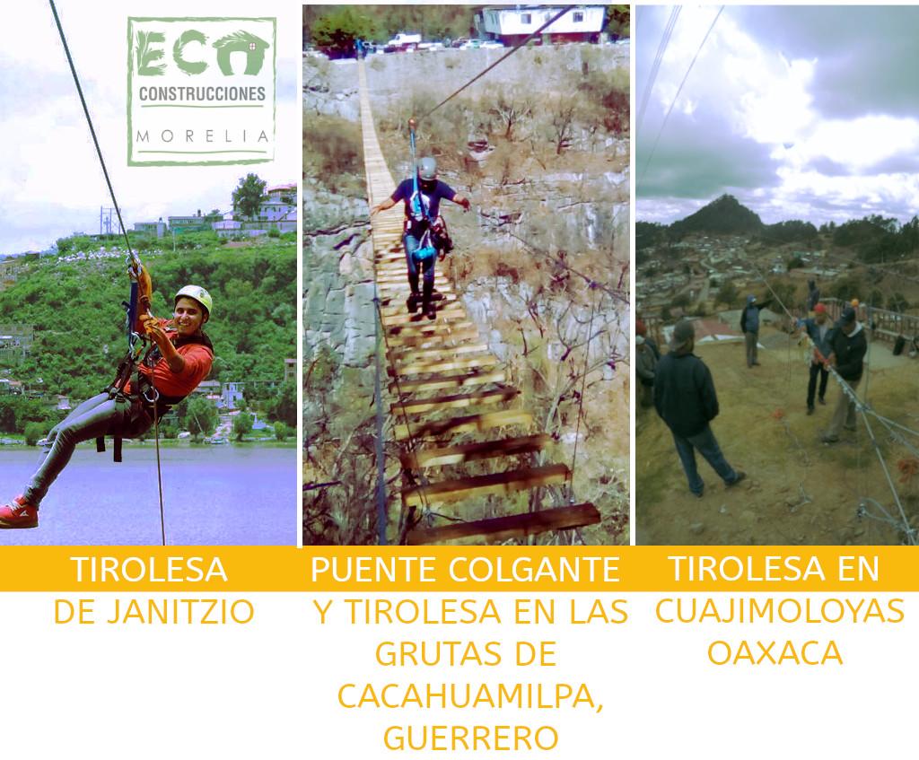 Tirolesa de Janizio, Puente Colgante y Tirolesa Grutas Cacahuamilpa, Tirolesa en Cuajimiyas Oaxaca